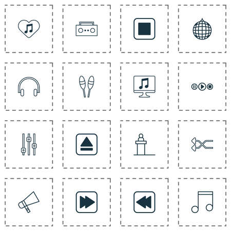 Audio icons set with tape, scene, megaphone and other display