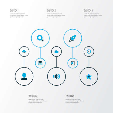 User icons colored set with cloud, user, sound and other storage   elements. Isolated  illustration user icons. Stock Photo