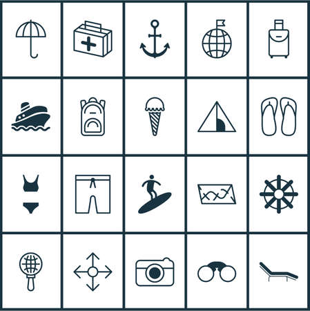 Tourism icons set with parasol, ice cream, visited country and other trip handbag   elements. Isolated vector illustration tourism icons.