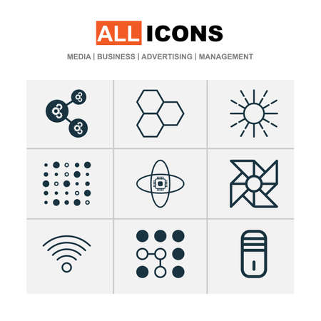 Learning icons set with data cells, data structure, brightness regulation and other mainframe  elements. Isolated vector illustration learning icons.