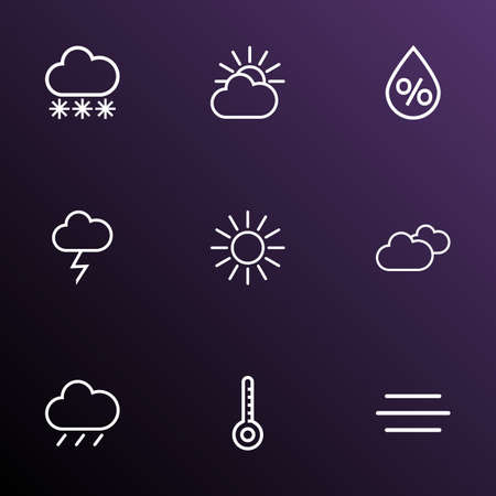 Air icons line style set with humidity, sunshine, snowfall and other wind  elements. Isolated vector illustration air icons.