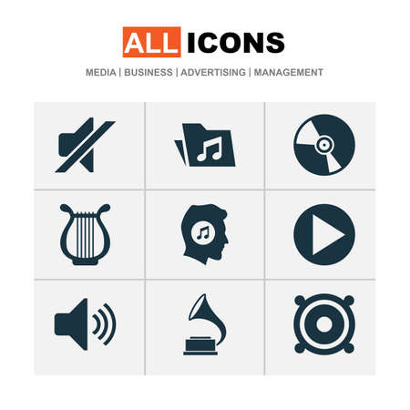 Audio icons set with folder, vinyl, volume and other phonograph