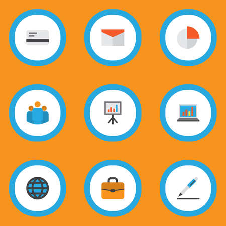 Trade icons flat style set with team, whiteboard, briefcase and other envelope elements. Isolated vector illustration trade icons.