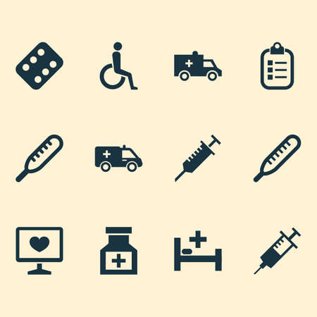 Drug icons set with medicament, thermometer, syringe and other remedy