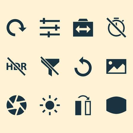 Iconos de fotos con recarga, filtración, gran angular y otros elementos de imagen. Iconos aislados de la foto del ejemplo del vector.