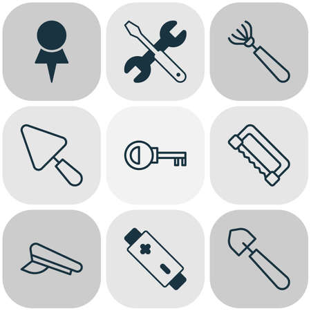 Tools icons set with saw, pilot hat, repair tools and other password