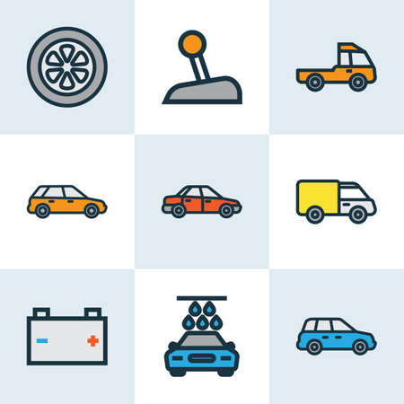 Car icons colored line set with carwash, crossover, prime-mover and other level 