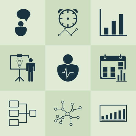 Board icons set with connection network, communication, project presentation and other presentation date