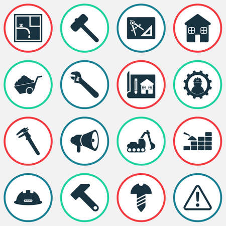 Industrial icons set with construction helmet, drawing with adaption, excavator and other plumber  elements. Isolated vector illustration industrial icons.