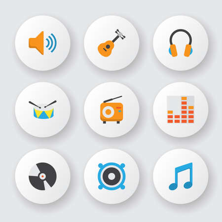 Audio icons flat style set with guitar, percussion, fm and other controlling  elements. Isolated vector illustration audio icons.