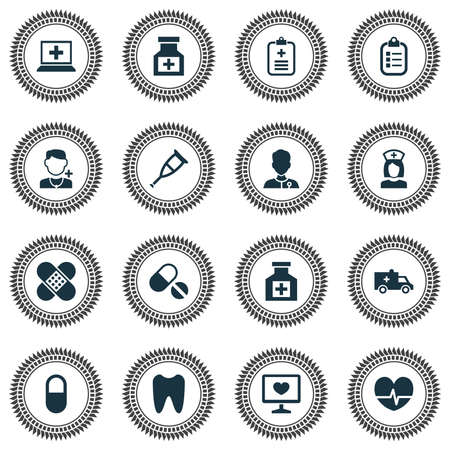 Drug icons set with computer, pill, doctor and other bus elements. Isolated vector illustration drug icons.