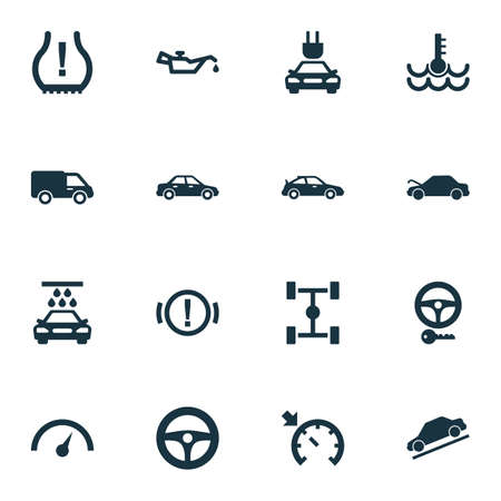 Auto icons set with lorry, oil pressure low, steering wheel and other drive control  elements. Isolated vector illustration auto icons. Illustration