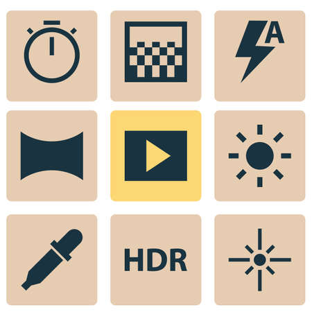 Image icons set with automatic, hdr, slideshow and other chronometer  elements. Isolated vector illustration image icons. 向量圖像