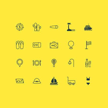 Tourism icons set with street light, boat, champagne and other island beach  elements. Isolated vector illustration tourism icons.