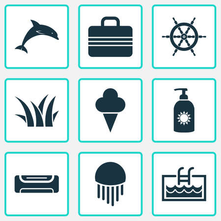 Summer icons set with suitcase, grass, ship helm and other swimming   elements. Isolated vector illustration summer icons. Illustration