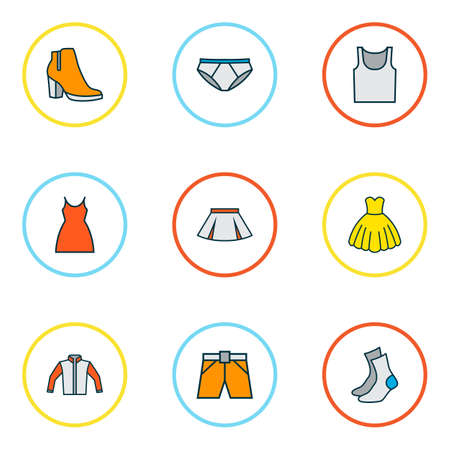 Garment icons colored line set with gown, cardigan, singlet and other female boots   elements. Isolated  illustration garment icons.