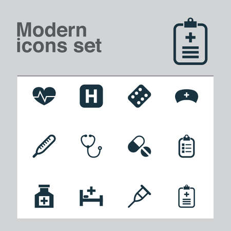 Drug icons set with bed, pellets, medicament and other hospital elements. Isolated vector illustration drug icons.