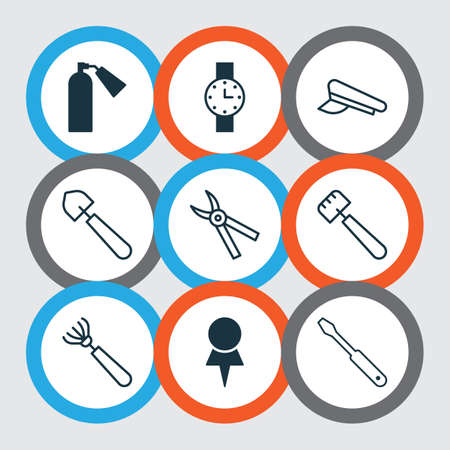 Apparatus icons set with shovel, trowel, extinguisher and other harrow  elements. Isolated vector illustration apparatus icons.