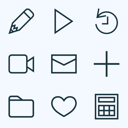 User icons line style set with dossier, calculate, pencil and other heat