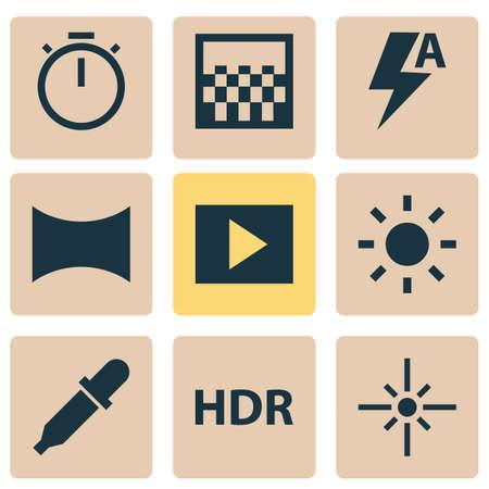 Iconos de imagen configurados con automático, hdr, presentación de diapositivas y otros elementos del cronómetro. Iconos de imagen de ilustración aislada.