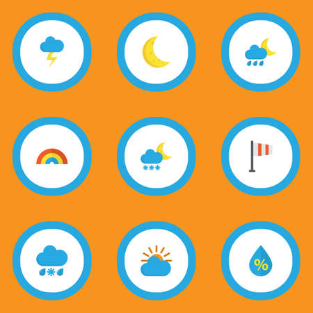 Air icons flat style set with lightning, frost, crescent and other hailstones   elements. Isolated  illustration air icons.