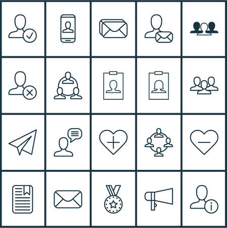 Communication icons set with private info, reward, badge and other badge