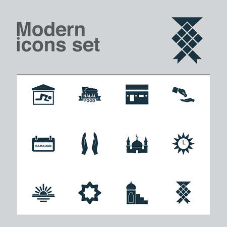 Ramadan icons set with kaaba, halal, financial assistance and other building  elements. Isolated  illustration ramadan icons.