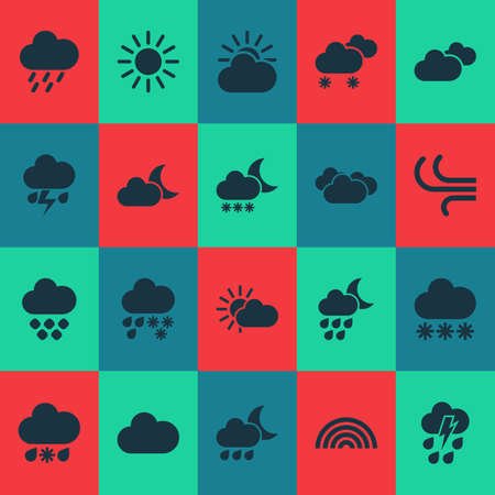 Weather icons set with cloud, sunshine, weather and other sun  elements. Isolated  illustration weather icons.