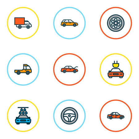 Auto icons colored line set with wheel, station wagon, track and other drive    elements. Isolated vector illustration auto icons.