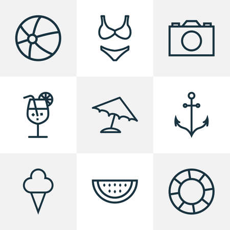 Sun icons line style set with watermelon, parasol, anchor and other lifesaver   elements. Isolated vector illustration sun icons. 向量圖像