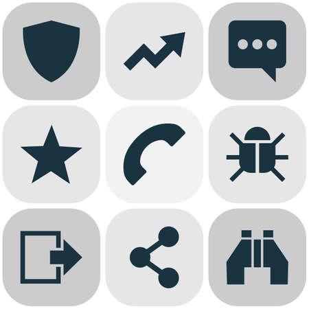 Iconos de usuario con elementos de búsqueda, tendencia, favorito y otros virus. Iconos de usuario de ilustración vectorial aislado.