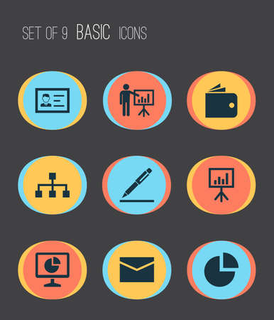 Trade icons set with contract signing, analytics, whiteboard and other presentation board  elements. Isolated vector illustration trade icons. Illustration