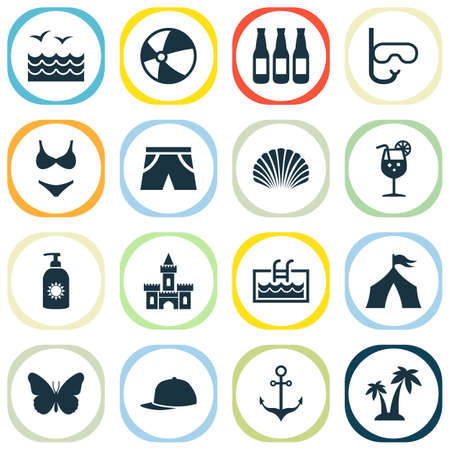 Summer icons set with sunscreen, palms, pool and other smelting  elements. Isolated vector illustration summer icons.