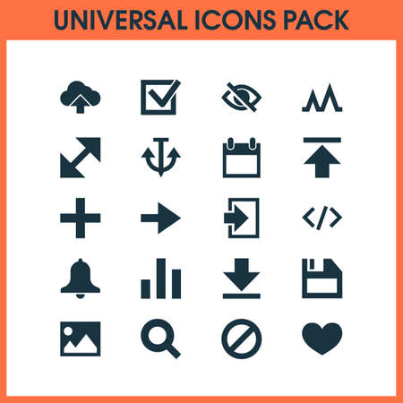 Interface icons set with forward, download, heart and other upload
