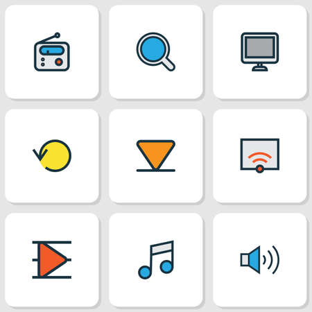 Media icons colored line set with display, arrow down, volume up and other screen