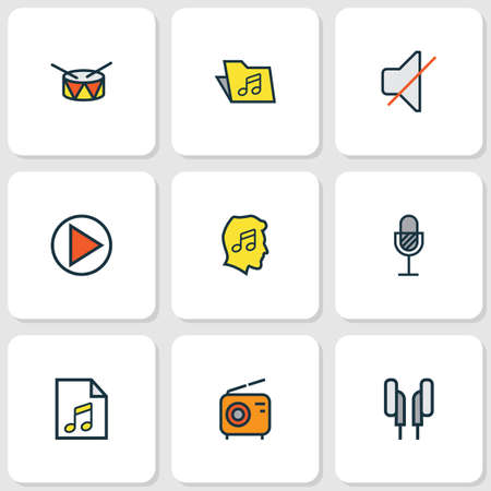 Multimedia icons colored line set with earphones, microphone, folder and other template elements.