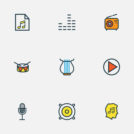 Music icons colored line set with drum, start, strings and other lover  elements. Isolated vector illustration music icons. Vectores