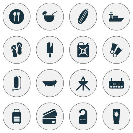 Tourism icons set with a credit card, popsicle, hotel and other underwater tank elements. Illusztráció