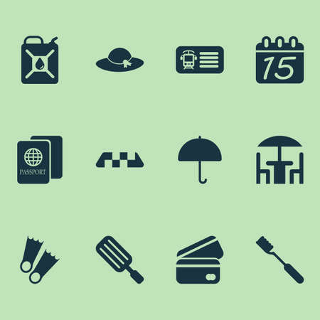 Travel icons set with taxi, train ticket, hat and other cab   elements. Isolated  illustration travel icons.