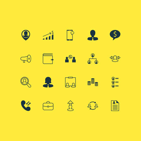 Resources icons set with administrator, chat, speaker and other bullhorn