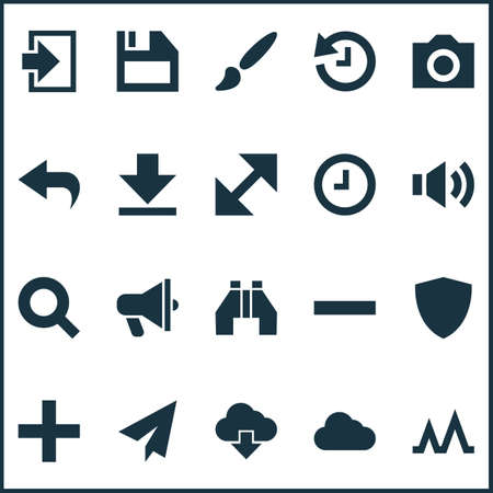 User icons set with down arrow, activity, search and other watch 