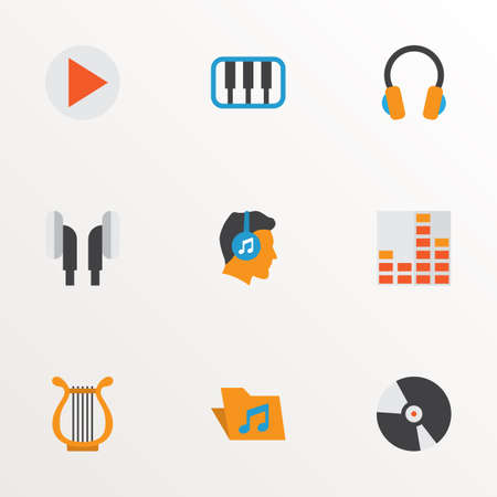 Music icons flat style set with begin, archive, compact disk and other sonata