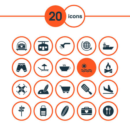 Travel icons set with plane landing, pointers, sea surfing