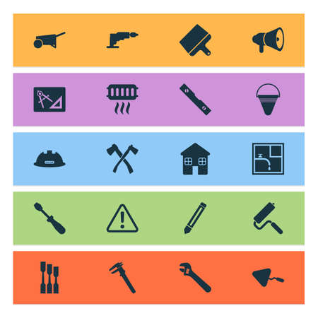Industrial icons set with chisel, caution, building cart and other plumber