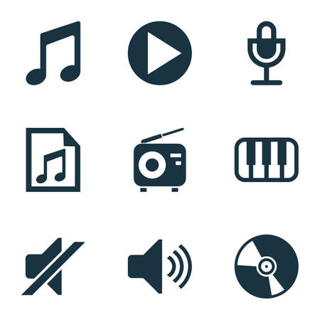 Multimedia icons set with vinyl, radio, microphone and other sound elements. Isolated vector illustration multimedia icons.