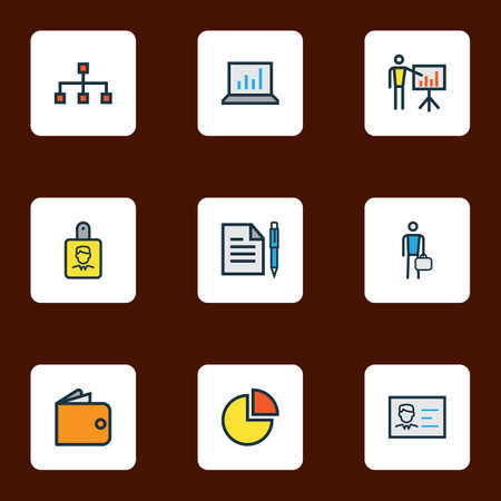 Business icons colored line set with contract, employee, bar diagram and other network