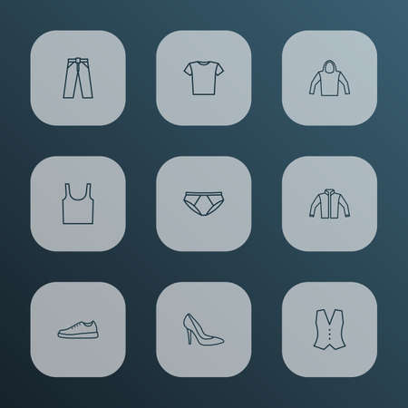 Dress icons line style set with heels, panties, vest and other sweatshirt elements. Isolated vector illustration dress icons.