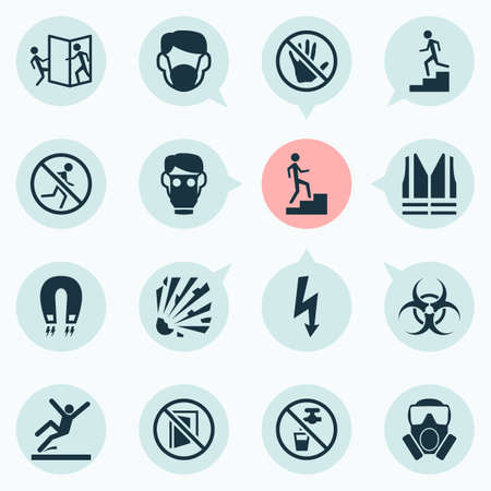 Protection icons set with not running, keep door closed, strong magnetic field and other electromagnetic  elements. Isolated vector illustration protection icons.