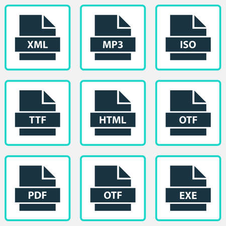 File icons set with ttf, exe, iso and other xml   elements. Isolated vector illustration file icons.