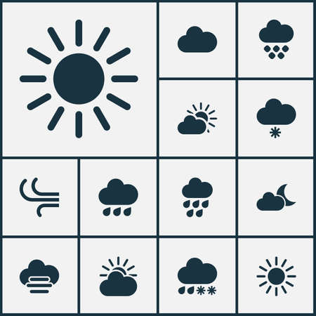 Weather icons set with heavy rain, crescent, sunlight and other raindrop